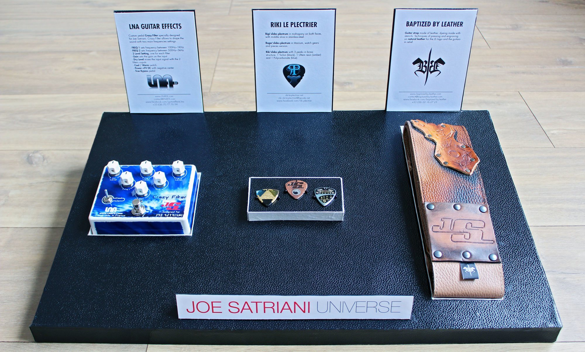 joe satriani universe lna guitar effect riki le plectrier baptized by leather gifts pedal picks strap